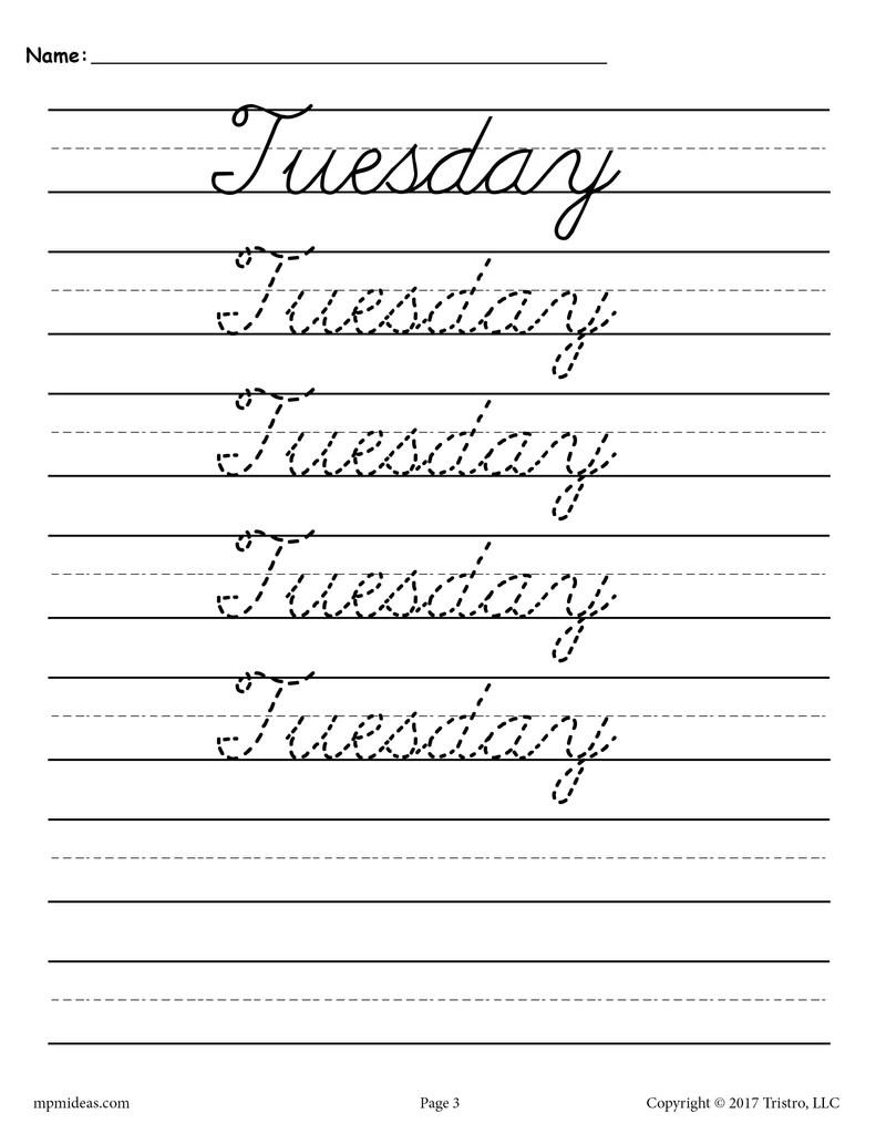 7 Cursive Handwriting Worksheets - Days of the Week! – SupplyMe [ 1024 x 791 Pixel ]