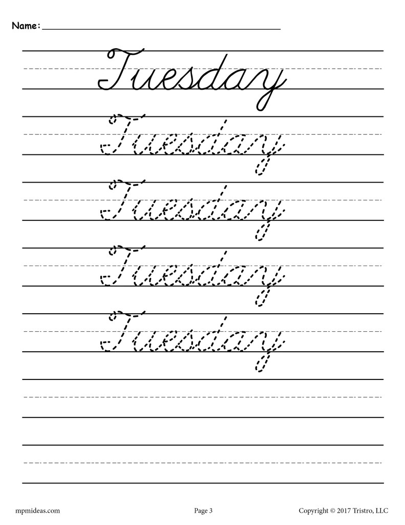 medium resolution of 7 Cursive Handwriting Worksheets - Days of the Week! – SupplyMe