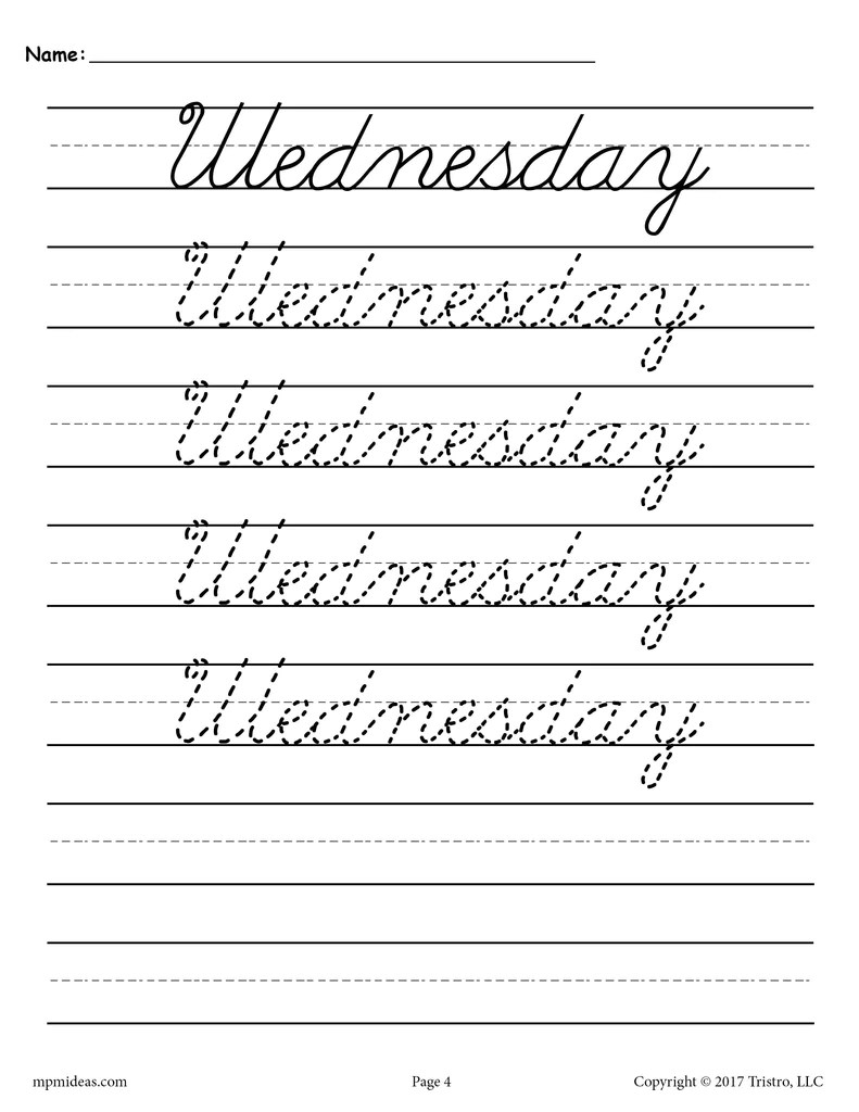 hight resolution of 7 Cursive Handwriting Worksheets - Days of the Week! – SupplyMe