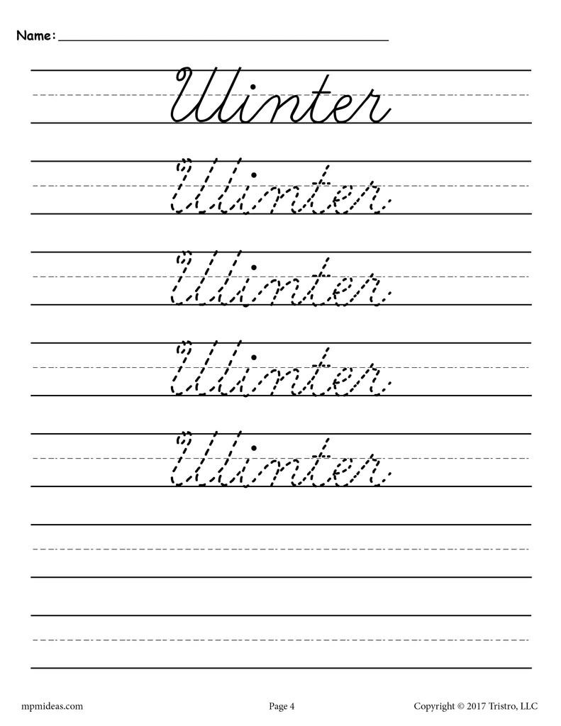hight resolution of 10 Cursive Handwriting Worksheets - Seasons and Holidays! – SupplyMe