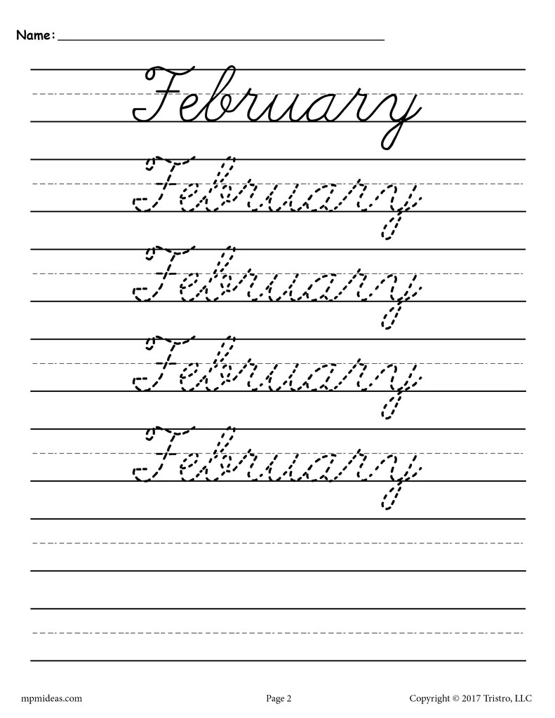12 Cursive Handwriting Worksheets - Months of the Year! – SupplyMe [ 1024 x 791 Pixel ]