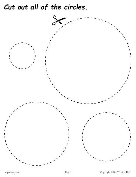 FREE Circles Cutting Worksheet  Circles Tracing