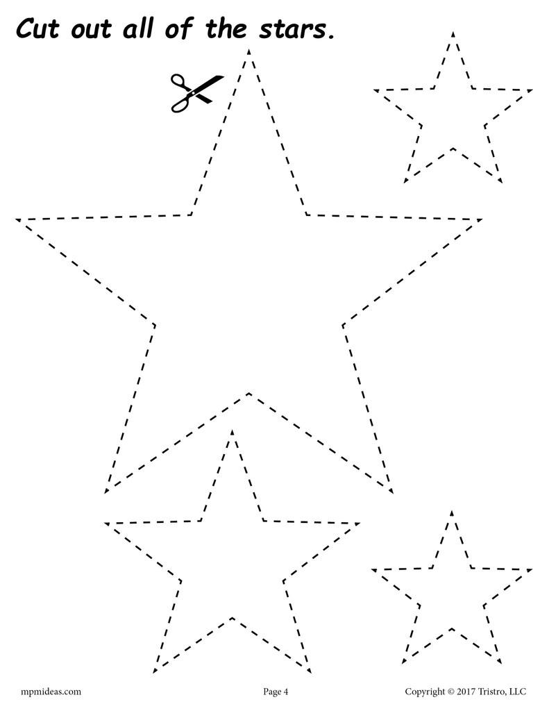 Stars Cutting Worksheet - Stars Tracing \u0026 Coloring Page – SupplyMe [ 1024 x 791 Pixel ]