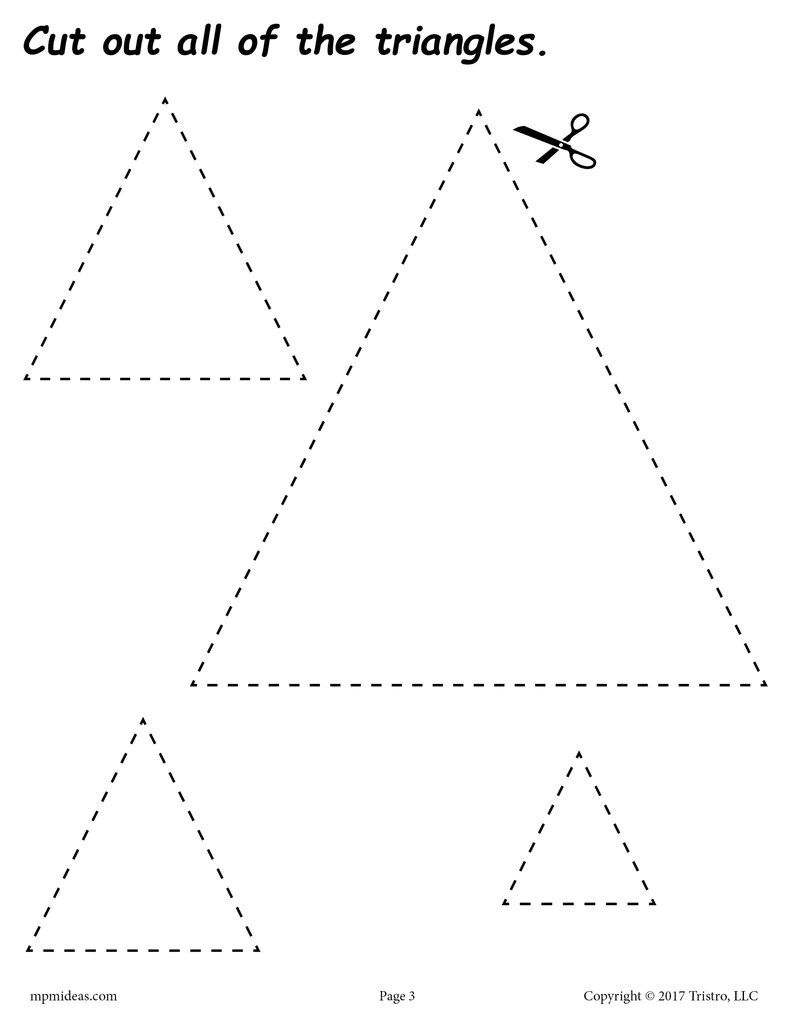 hight resolution of Triangles Cutting Worksheet - Triangles Tracing \u0026 Coloring Page – SupplyMe