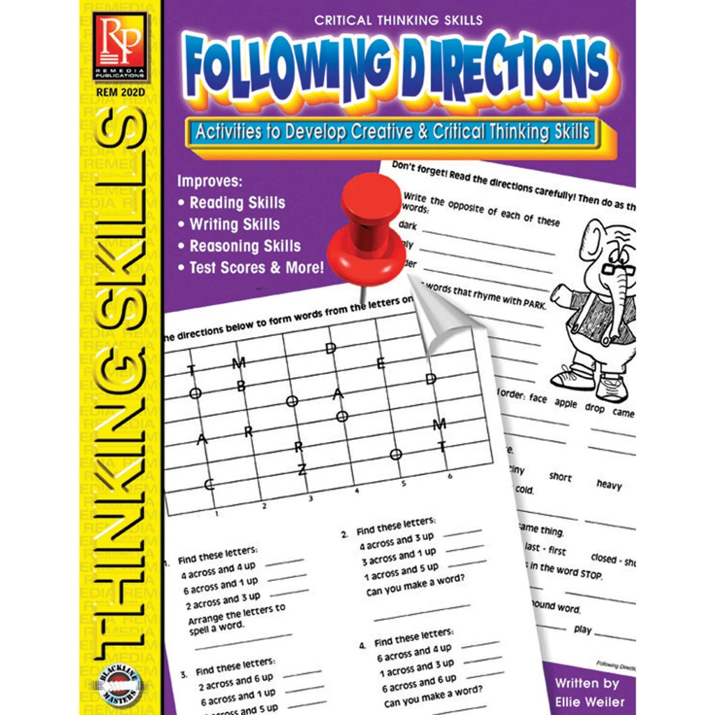 Remedia Publications Critical Thinking Skills Activity Book: Following  Directions   REM202D – SupplyMe [ 1024 x 1024 Pixel ]