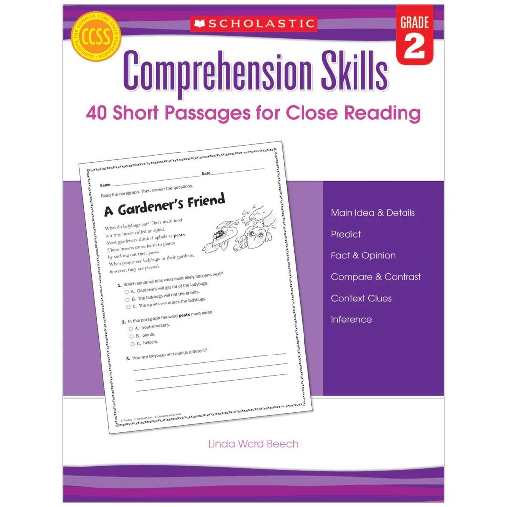 medium resolution of Scholastic Comprehension Skills: 40 Short Passages for Close Reading: Grade  2   SC-546053 – SupplyMe