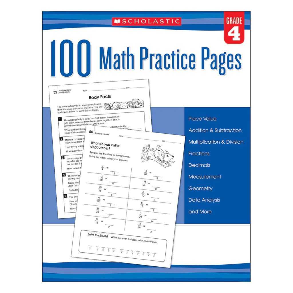 small resolution of Scholastic 100 Math Practice Pages: Grade 4   SC-579940 – SupplyMe