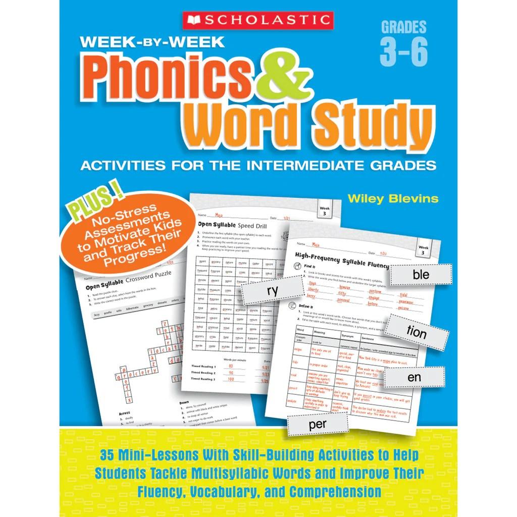 Scholastic Week-by-Week Phonics \u0026 Word Study Activities for the  Intermediate Grades   SC-946589 – SupplyMe [ 1024 x 1024 Pixel ]