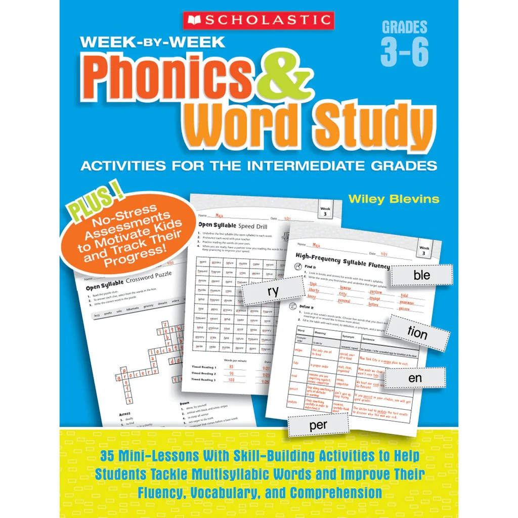 small resolution of Scholastic Week-by-Week Phonics \u0026 Word Study Activities for the  Intermediate Grades   SC-946589 – SupplyMe