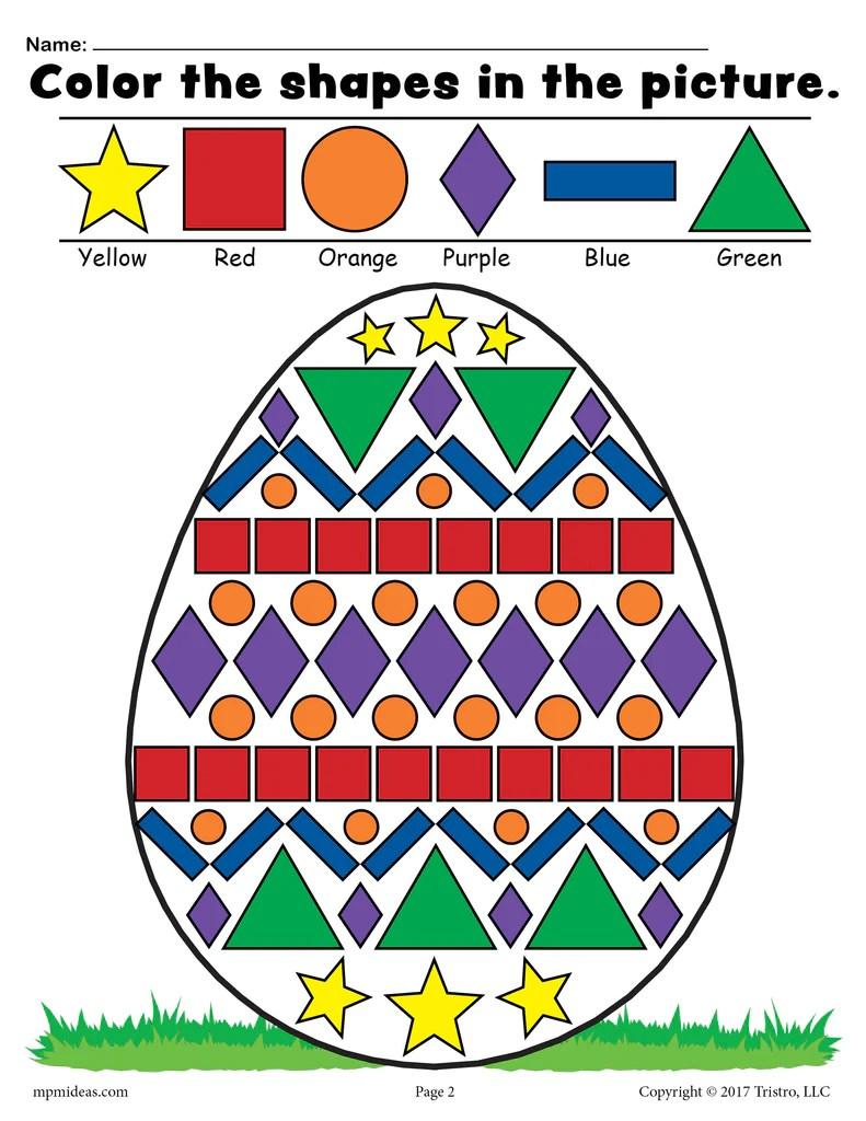 Easter Egg Shapes Worksheet \u0026 Coloring Page! – SupplyMe [ 1024 x 791 Pixel ]
