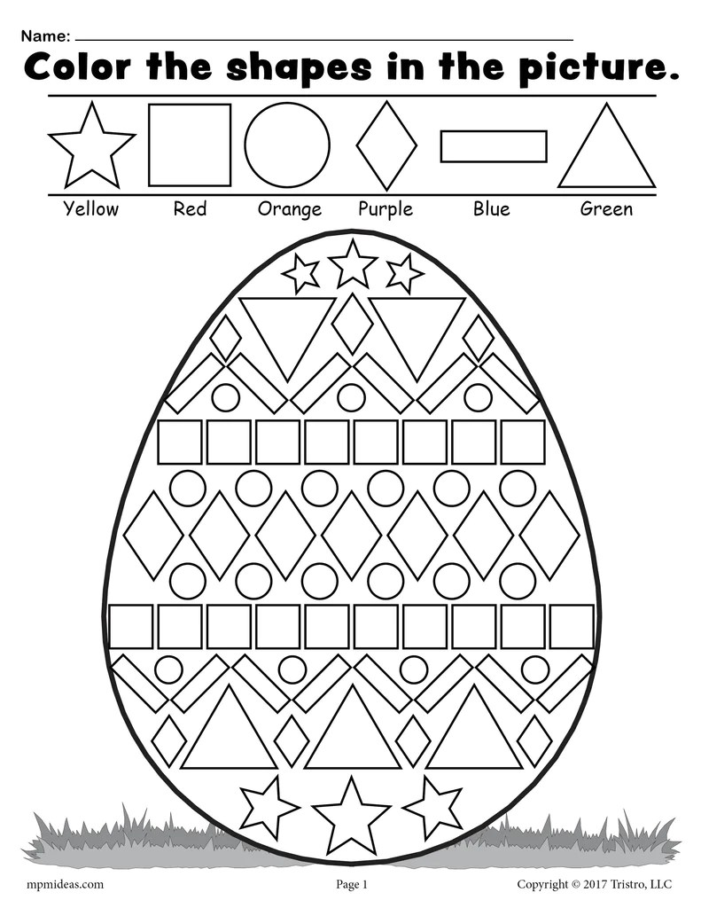 small resolution of Easter Egg Shapes Worksheet \u0026 Coloring Page! – SupplyMe