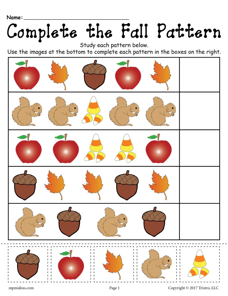Printable Fall Pattern Worksheet! – SupplyMe [ 1024 x 791 Pixel ]