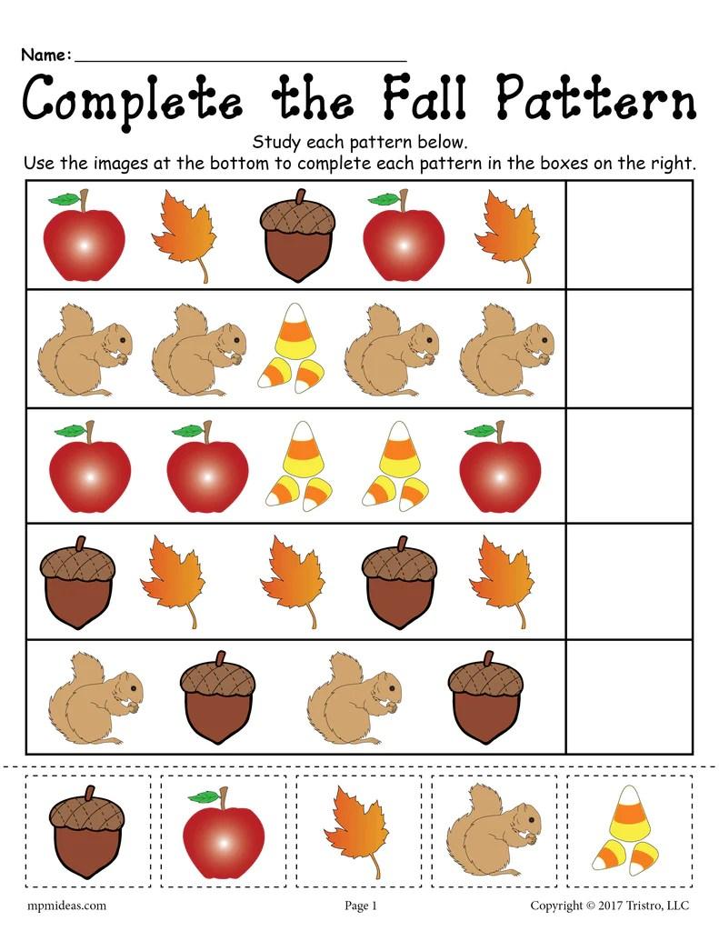 Printable Fall Pattern Worksheet! – SupplyMe [ 1024 x 791 Pixel ]