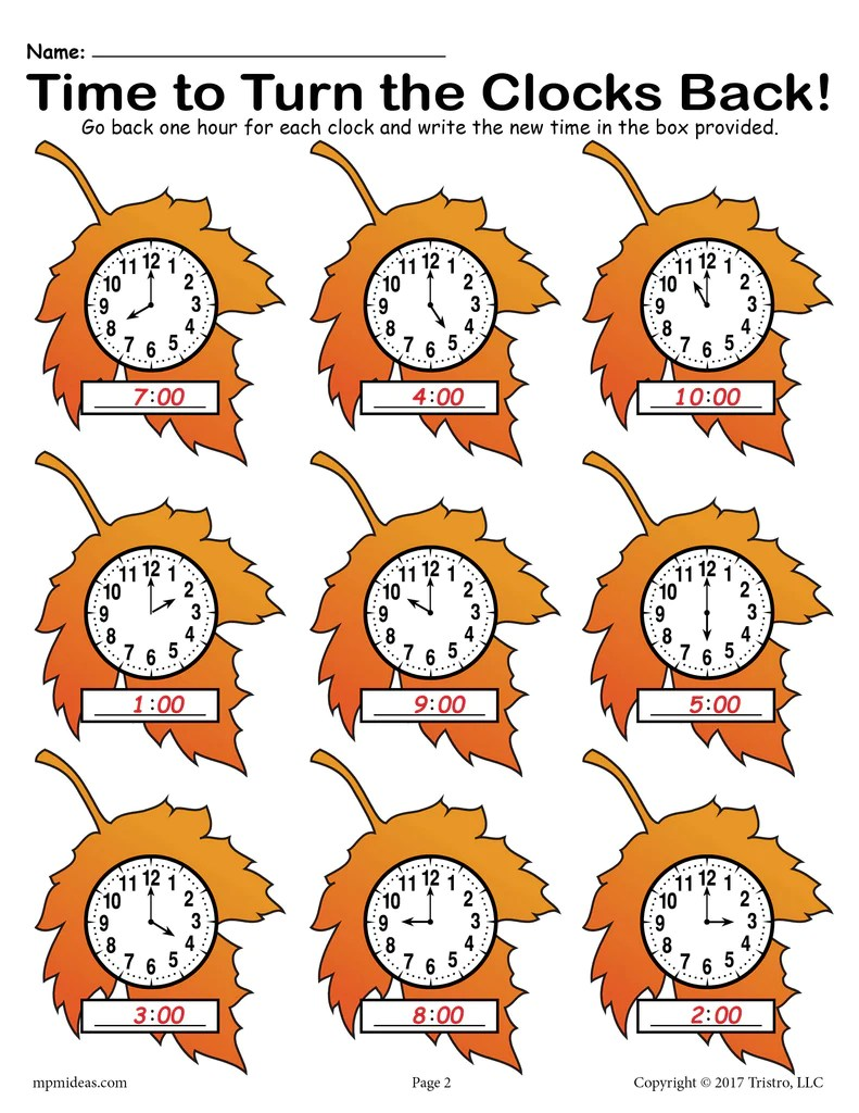 Fall Back!\ Printable Fall Themed Telling Time Worksheet! – SupplyMe [ 1024 x 791 Pixel ]