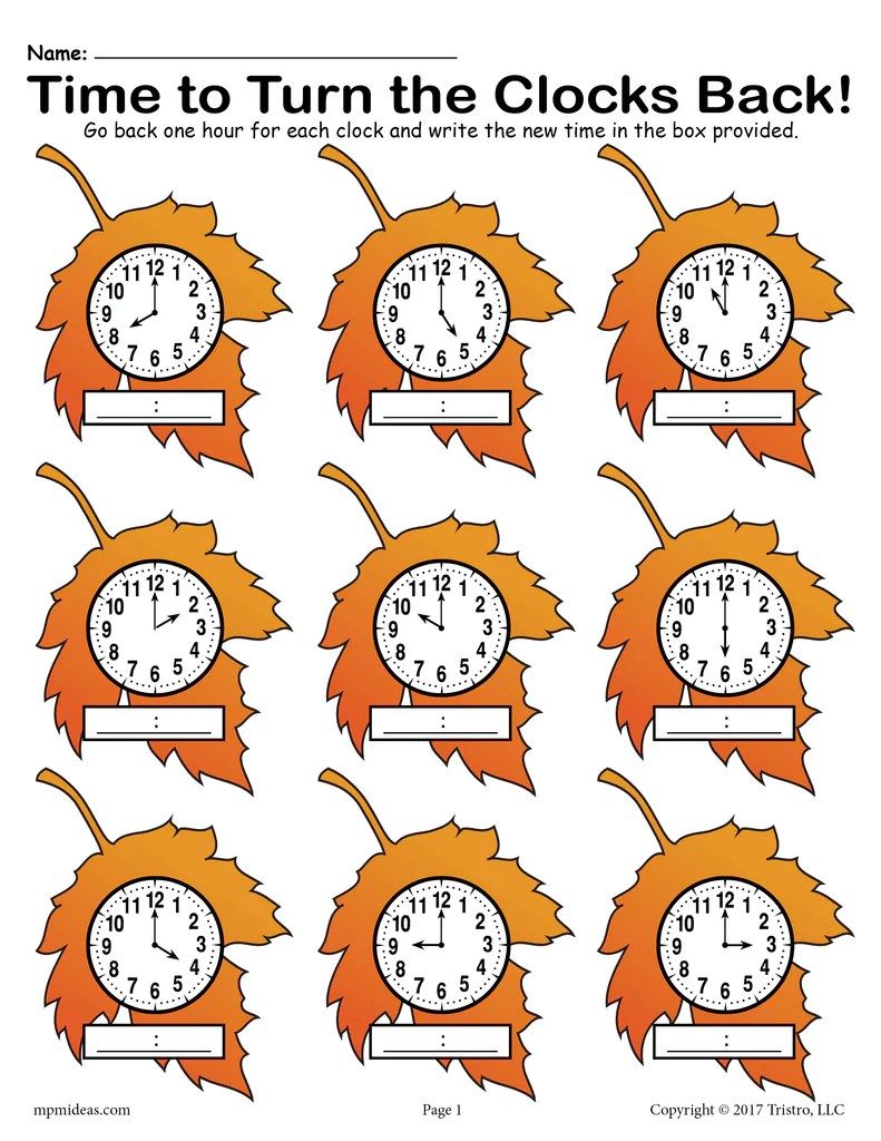 hight resolution of Fall Back!\ Printable Fall Themed Telling Time Worksheet! – SupplyMe