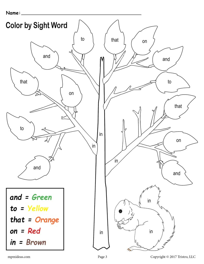 Fall Themed Color By Sight Words - 2 Printable Preschool Sight Word Wo –  SupplyMe [ 1024 x 791 Pixel ]