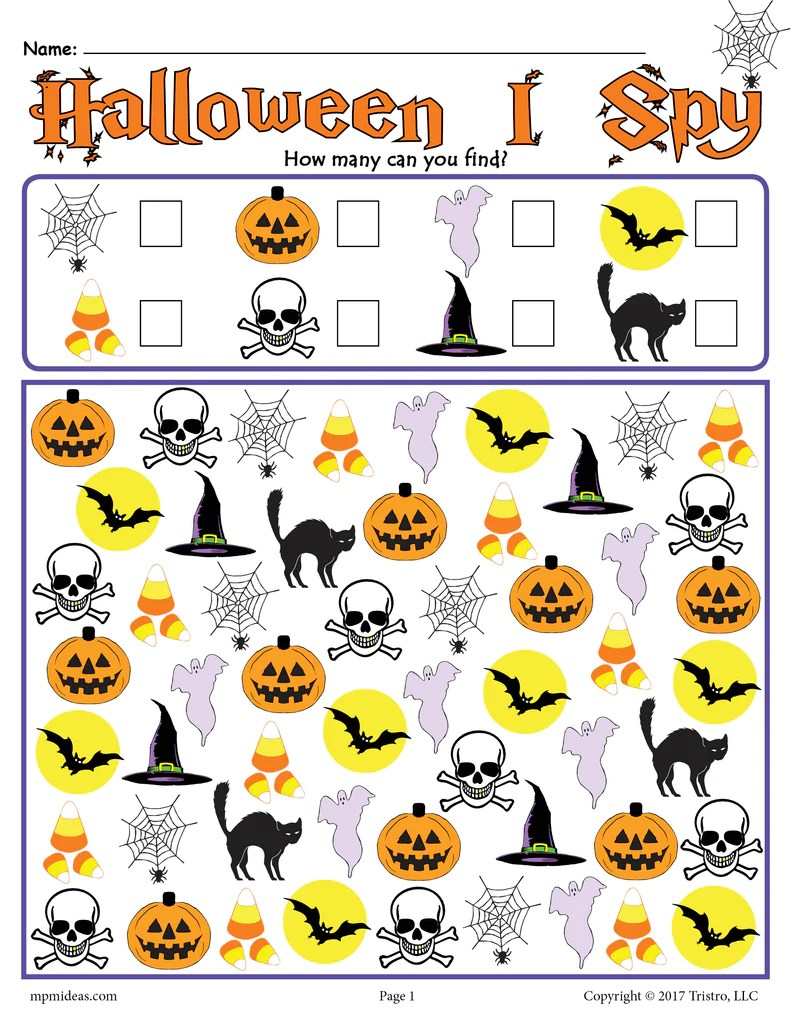 Halloween I Spy - Printable Halloween Counting Worksheet! – SupplyMe [ 1024 x 791 Pixel ]