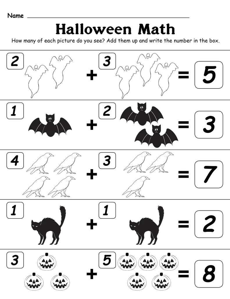 Printable Halloween Themed \Addition With Pictures\ Worksheet! – SupplyMe [ 1024 x 791 Pixel ]