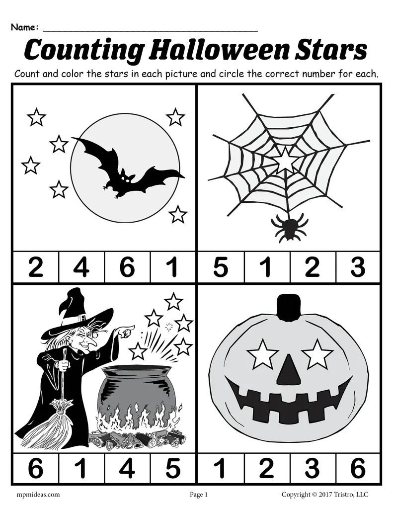 Printable Preschool Halloween Counting Worksheet! – SupplyMe [ 1024 x 791 Pixel ]