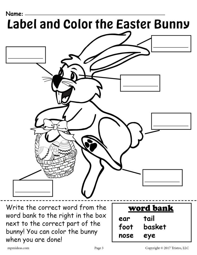 Label the Easter Bunny - 2 Printable Easter Worksheets Including A Cut –  SupplyMe [ 1024 x 791 Pixel ]