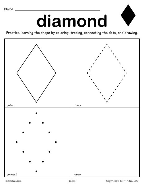 FREE Diamond Worksheet  Color Trace Connect  Draw