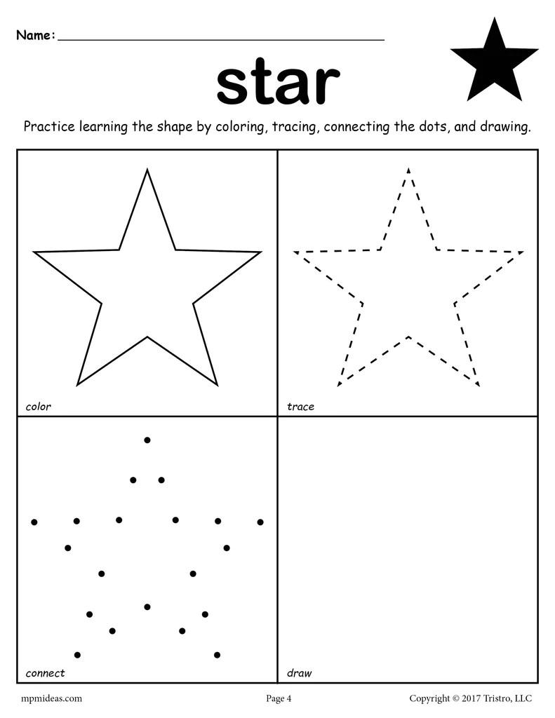 Star Worksheet - Color [ 1024 x 791 Pixel ]