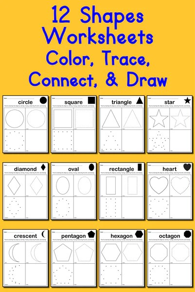 12 Shapes Worksheets Color Trace Connect  Draw