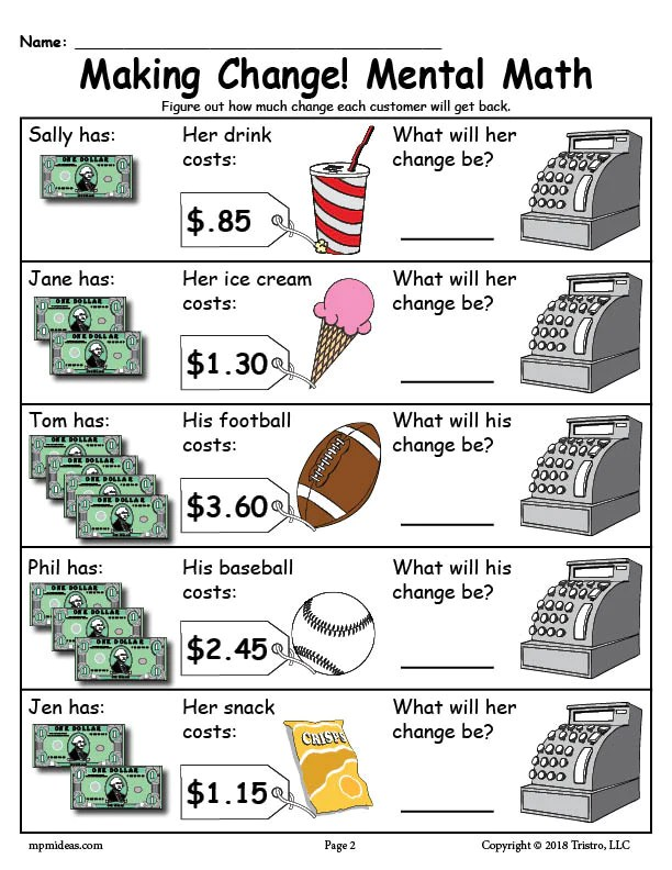 Counting Change Worksheets For 1st Grade