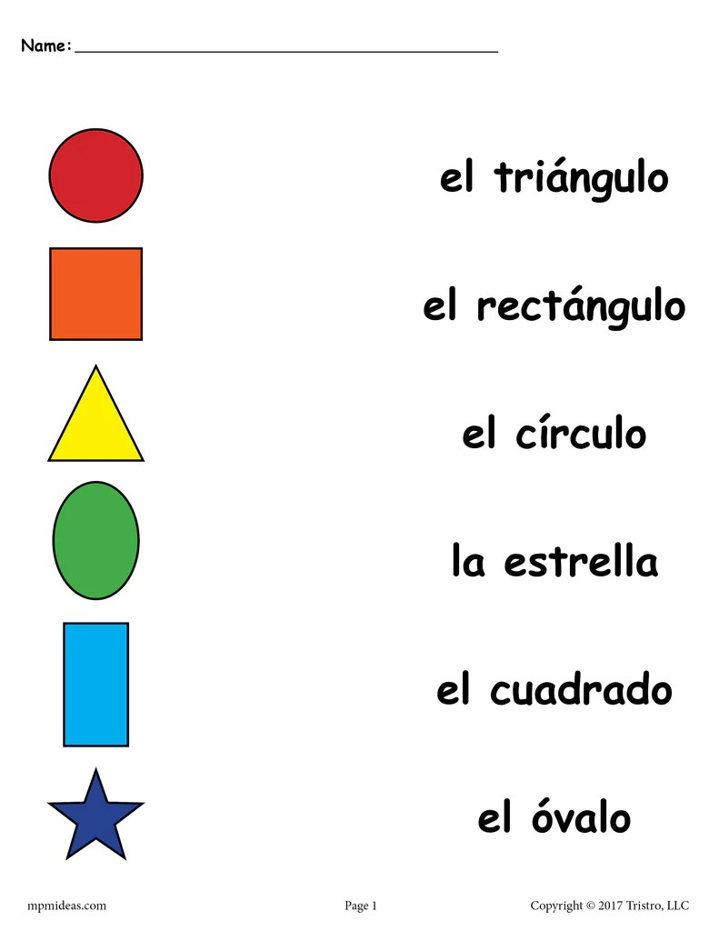 hight resolution of 4 Preschool Spanish Shapes Matching Worksheets! – SupplyMe