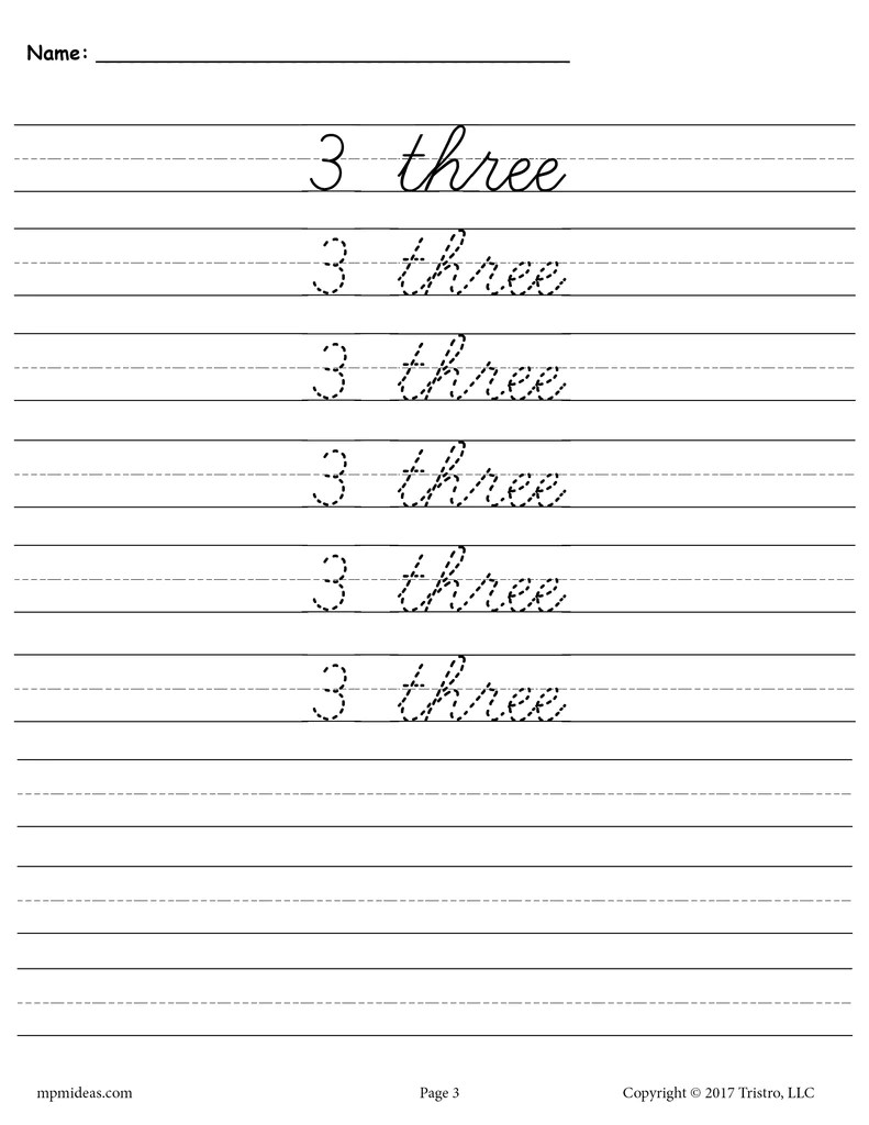 small resolution of Cursive Handwriting \u0026 Number Tracing Worksheets 1-20 – SupplyMe