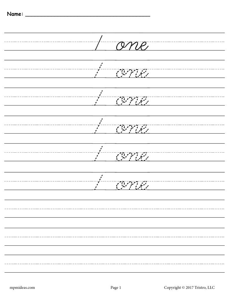 small resolution of Cursive Handwriting \u0026 Number Tracing Worksheets 1-20 – SupplyMe