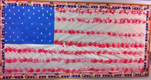 Patriotic American Flag Handprint Bulletin Board Idea