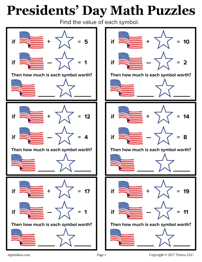 Presidents' Day Math Puzzles Worksheet! – SupplyMe [ 1024 x 791 Pixel ]