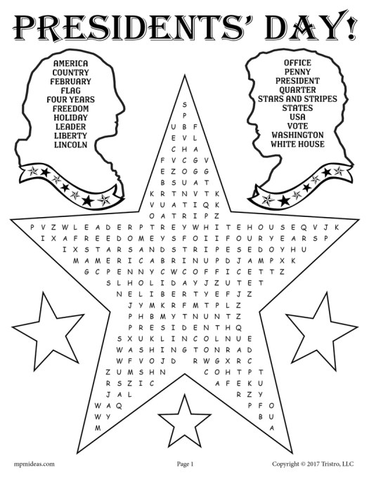 FREE Printable Presidents' Day Word Search! - SupplyMe