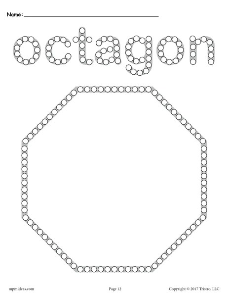 FREE Octagon QTip Painting Printable  Octagon Worksheet