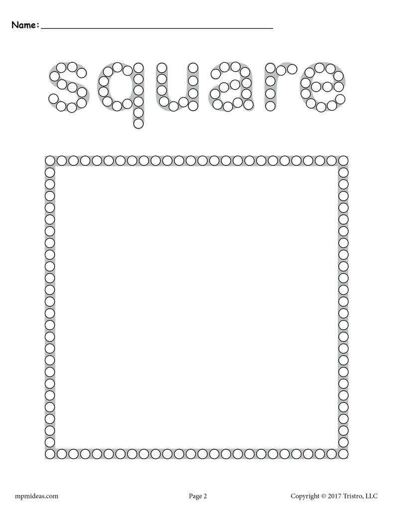 Square Q-Tip Painting Printable - Square Worksheet \u0026 Coloring Page –  SupplyMe [ 1024 x 791 Pixel ]