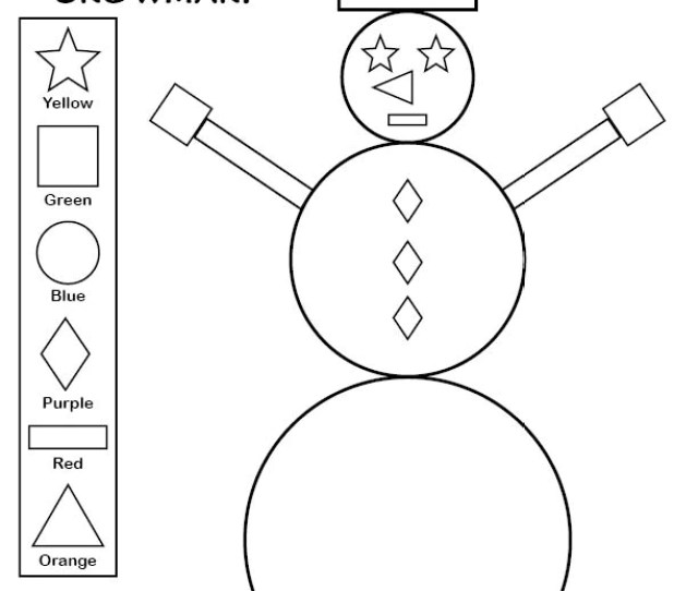 Printable Snowman Shapes Coloring Pages Supplyme