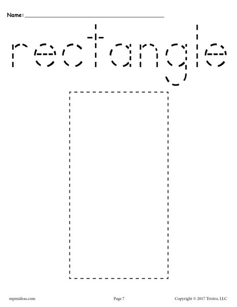 FREE Rectangle Tracing Worksheet  Printable Tracing