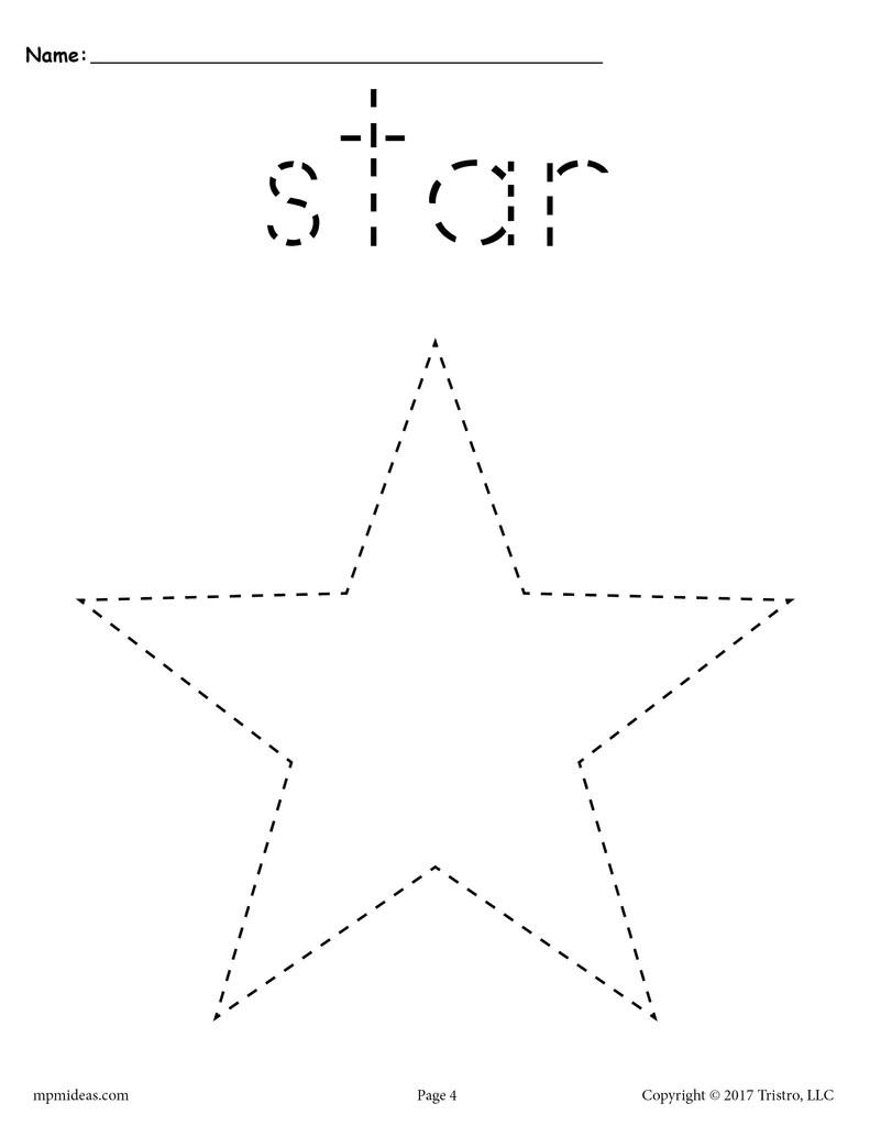 Star Tracing Worksheet - Printable Tracing Shapes Worksheets – SupplyMe [ 1024 x 791 Pixel ]