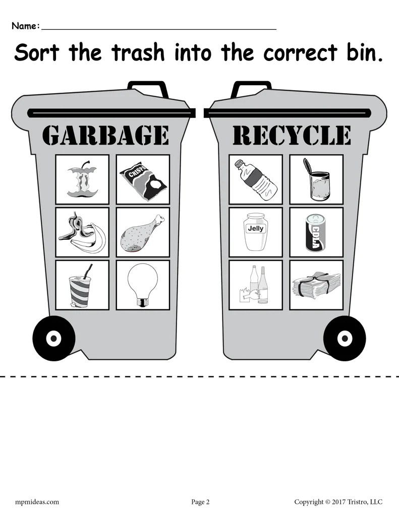 small resolution of Sorting Trash - Earth Day Recycling Worksheets (4 Printable Versions!) –  SupplyMe