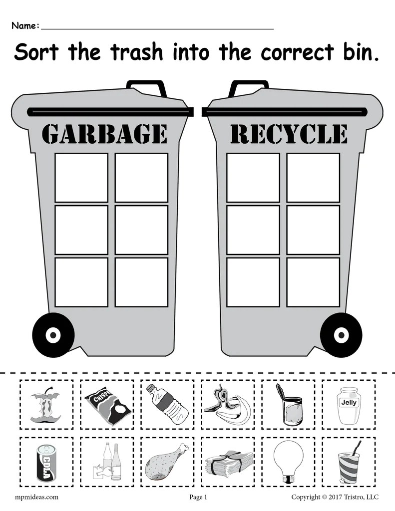 Sorting Trash - Earth Day Recycling Worksheets (4 Printable Versions!) –  SupplyMe [ 1024 x 791 Pixel ]