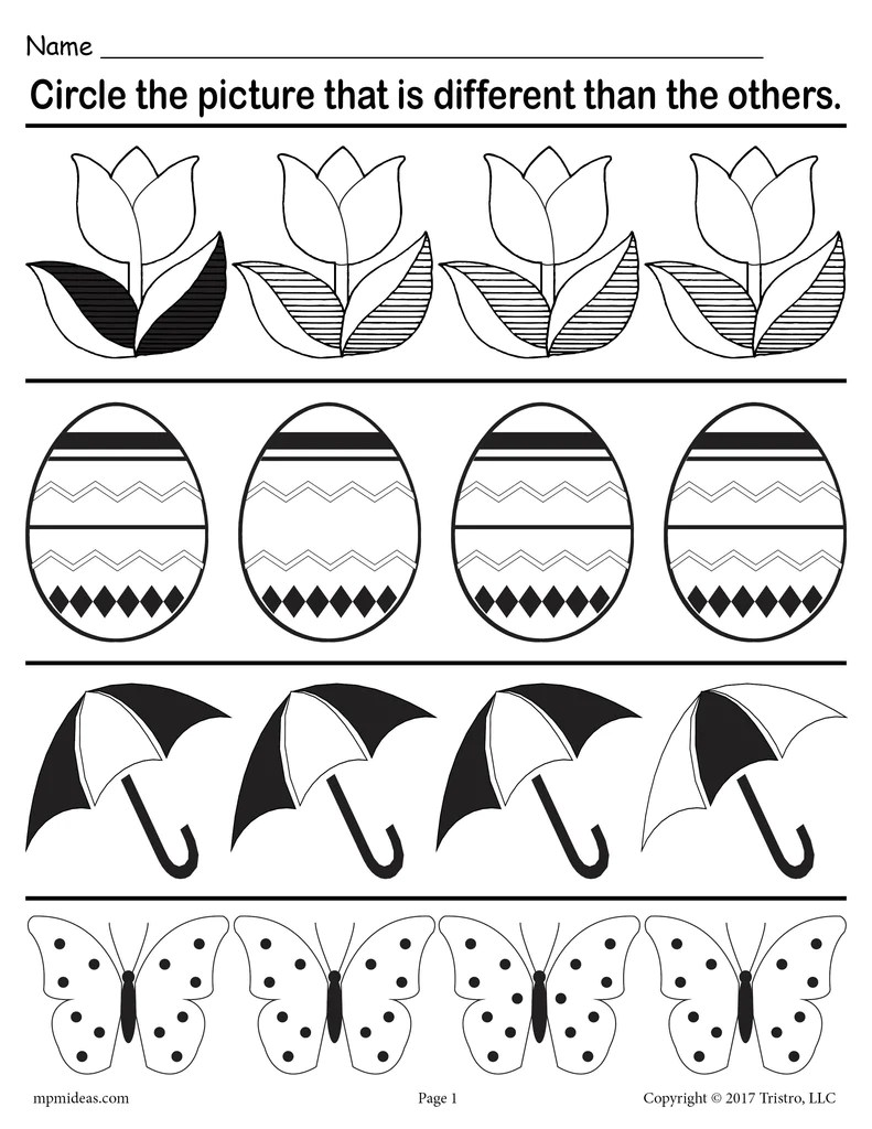 medium resolution of Spot the Difference\ Printable Spring Themed Worksheet! – SupplyMe
