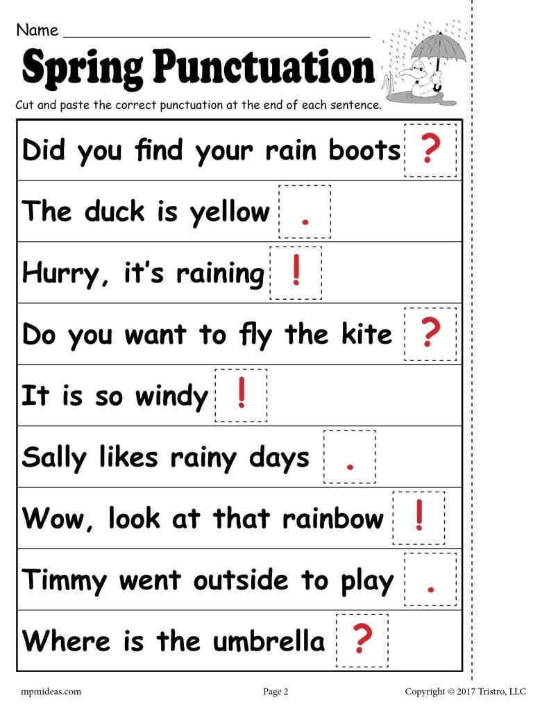 Printable Spring Punctuation Worksheet! – SupplyMe [ 1024 x 791 Pixel ]