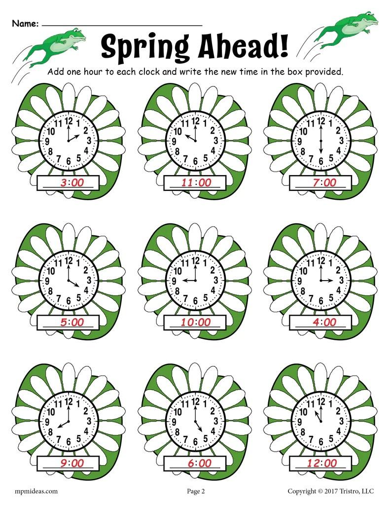 Spring Ahead!\ Spring Themed Telling Time Worksheet! – SupplyMe [ 1024 x 791 Pixel ]