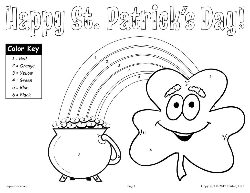 Printable St. Patrick's Day Color-by-Number Worksheet! – SupplyMe [ 791 x 1024 Pixel ]