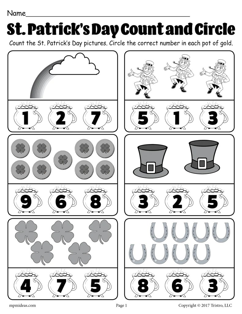 St. Patrick's Day Themed \Count and Circle\ Counting Worksheet! – SupplyMe [ 1024 x 791 Pixel ]