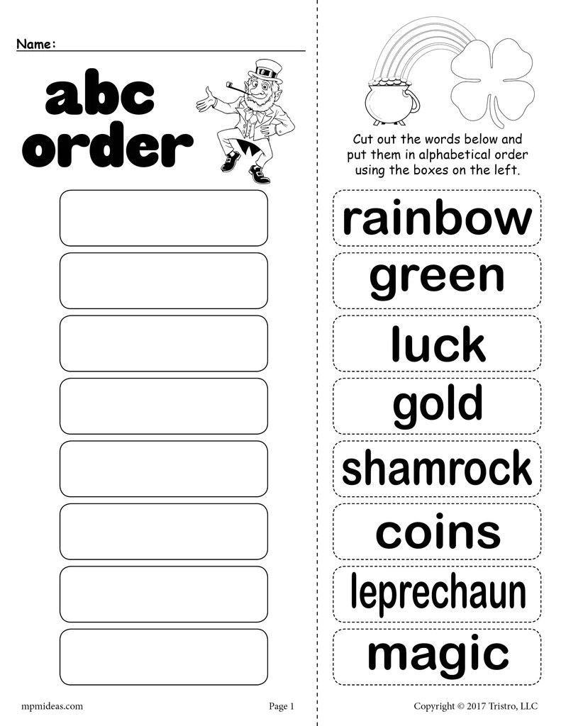 small resolution of St. Patrick's Day Alphabetical Order Worksheet! – SupplyMe