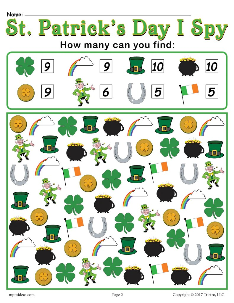 St. Patrick's Day I Spy - Printable St. Patrick's Day Counting Workshe –  SupplyMe [ 1024 x 791 Pixel ]