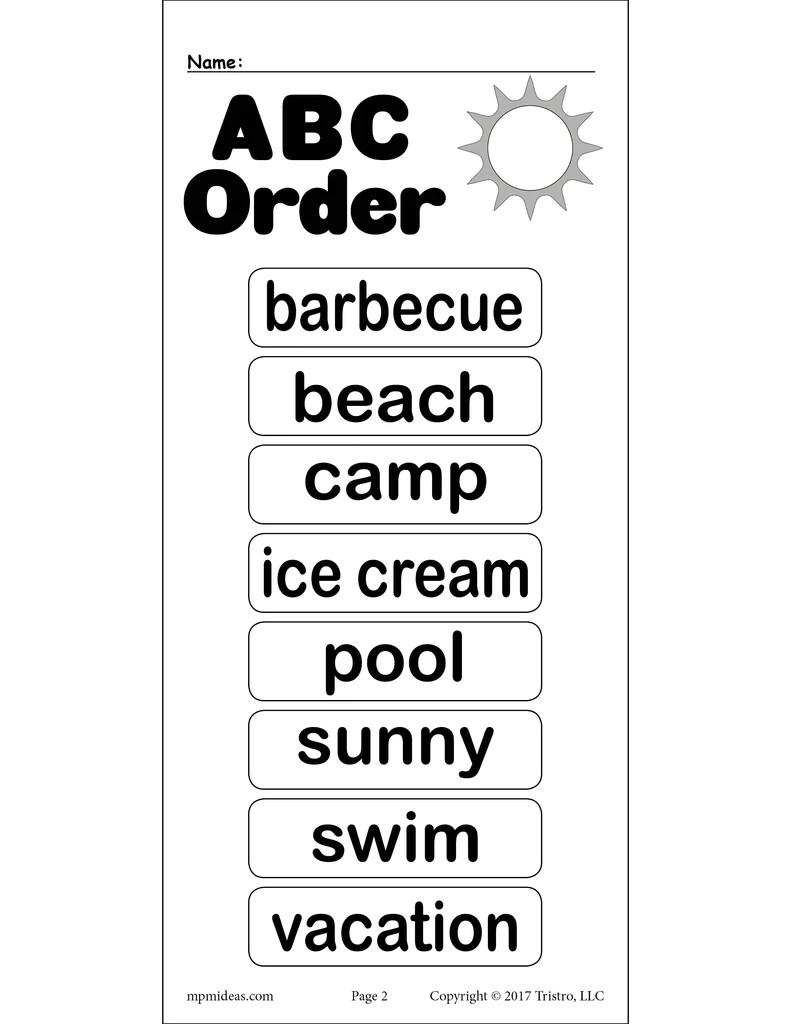 medium resolution of Summer Alphabetical Order Worksheet! – SupplyMe