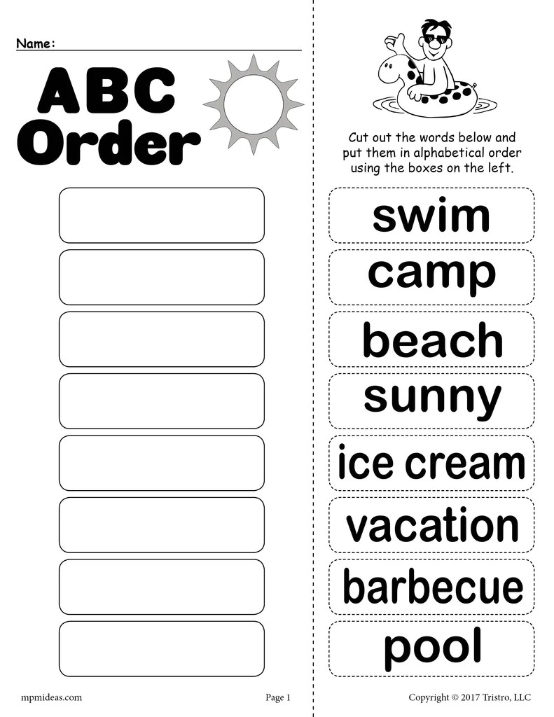 medium resolution of Summer Alphabetical Order Worksheet! – SupplyMe